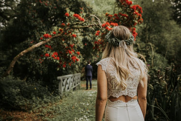 Bridal Separates //Blush Pink Boho Barn Vibes With Bride in Rime Arodaky From The White Gallery. Outdoor ceremony at Larchfield Estate in Northern Ireland. Photography by Ten Twenty One.