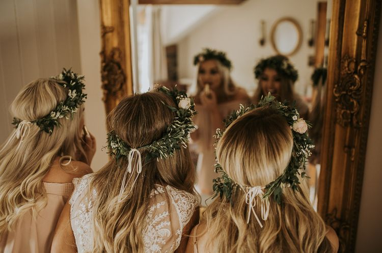 The Rosehip and Berry Floral Headband // Blush Pink Boho Barn Vibes With Bride in Rime Arodaky From The White Gallery. Outdoor ceremony at Larchfield Estate in Northern Ireland. Photography by Ten Twenty One.