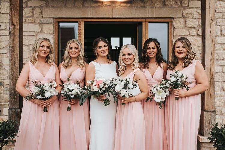 Bouquets | Blush Pink and Copper | RMW The List Members Hazel Gap Barn, Nottinghamshire | Mikaella Bridal Gown | Pear and Bear Photography