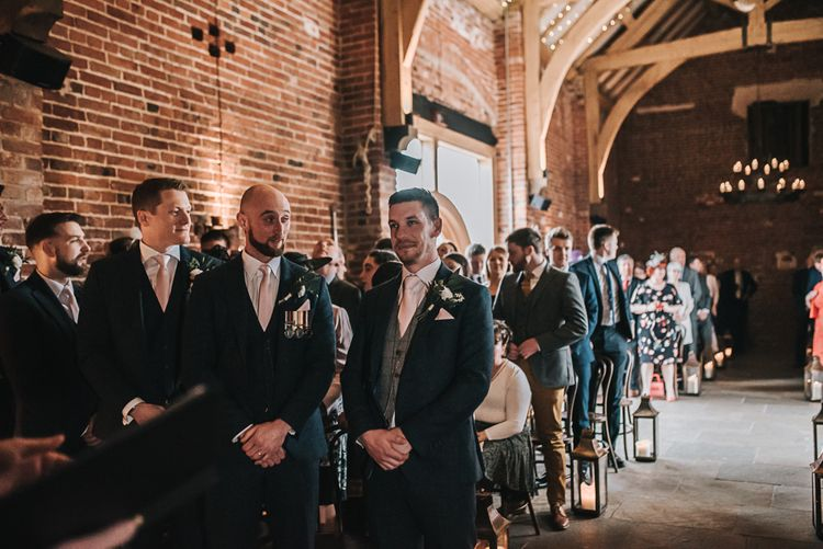 Groom waiting on his Bride | Blush Pink and Copper | RMW The List Members Hazel Gap Barn, Nottinghamshire | Mikaella Bridal Gown | Pear and Bear Photography
