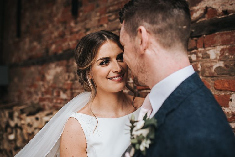 Couple shot |  Rustic | Blush Pink and Copper | RMW The List Members Hazel Gap Barn, Nottinghamshire | Mikaella Bridal Gown | Pear and Bear Photography