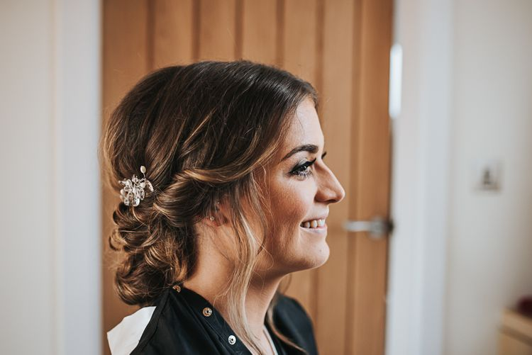 Brides Makeup | Blush Pink and Copper | RMW The List Members Hazel Gap Barn, Nottinghamshire | Mikaella Bridal Gown | Pear and Bear Photography