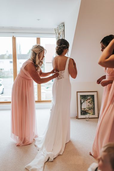 Brides Morning Preparations | Blush Pink and Copper | RMW The List Members Hazel Gap Barn, Nottinghamshire | Mikaella Bridal Gown | Pear and Bear Photography