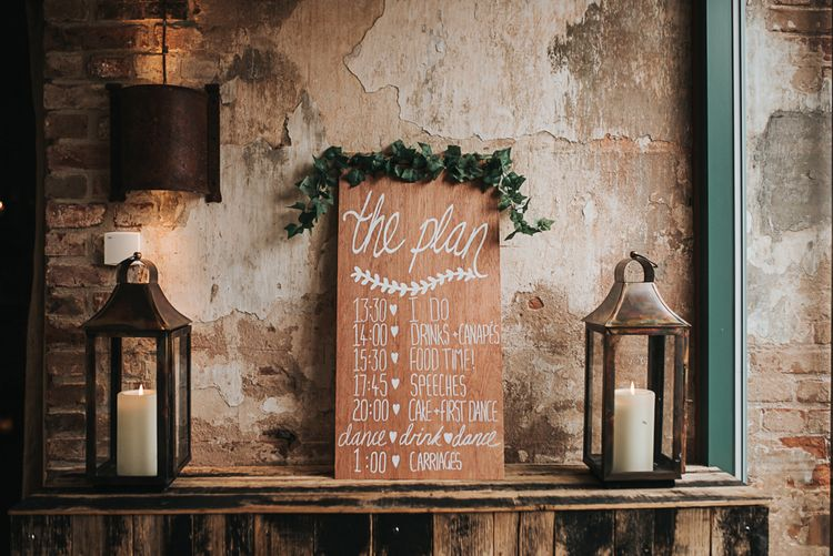Table detail and decor | Signage | Blush Pink and Copper | RMW The List Members Hazel Gap Barn, Nottinghamshire | Mikaella Bridal Gown | Pear and Bear Photography