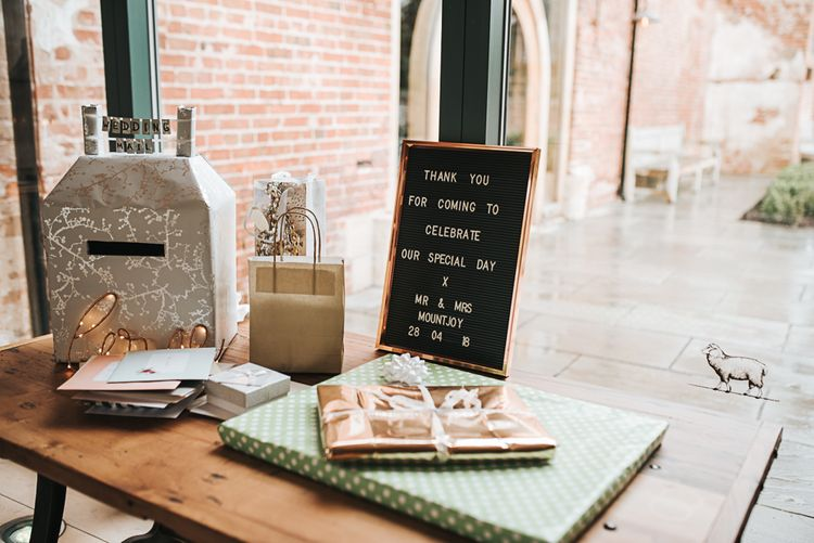 Table detail and decor | Gift Table | Blush Pink and Copper | RMW The List Members Hazel Gap Barn, Nottinghamshire | Mikaella Bridal Gown | Pear and Bear Photography