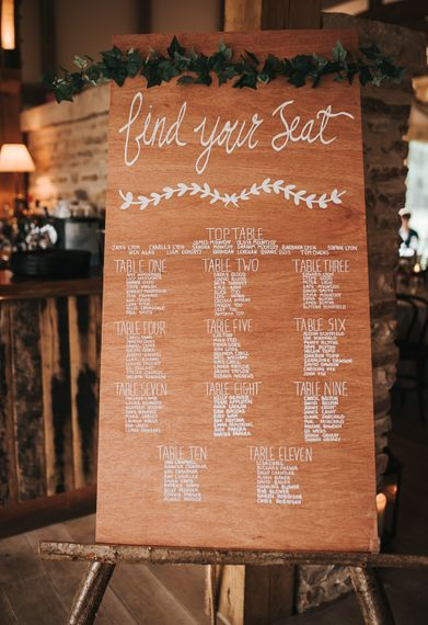 Signage | Table detail and decor | Blush Pink and Copper | RMW The List Members Hazel Gap Barn, Nottinghamshire | Mikaella Bridal Gown | Pear and Bear Photography