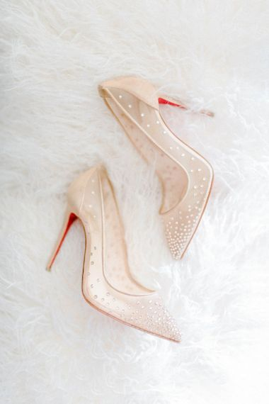 Louboutin wedding shoes for bride with detachable skirt wedding dress