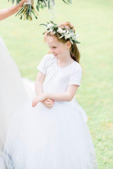 Flower girl at Derbyshire wedding