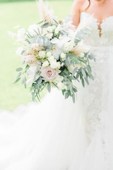 Blush and foliage wedding bouquet with pampas grass