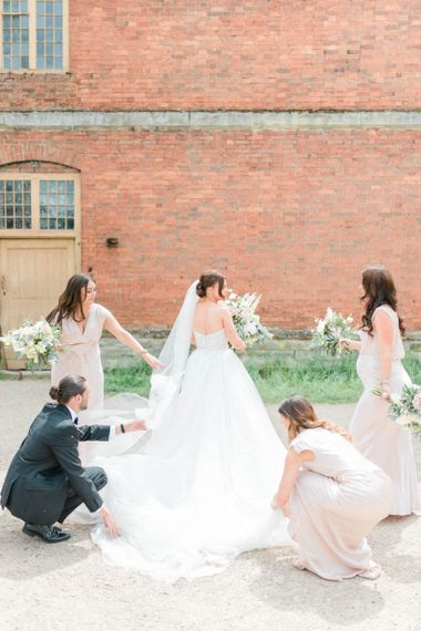 Bride in detachable skirt wedding dress