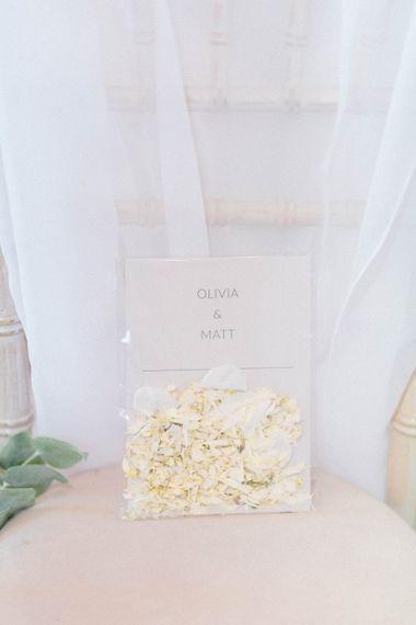 White wedding confetti