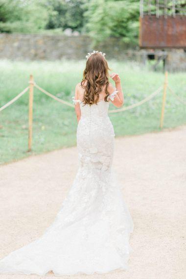 Lace Pronovias detachable skirt wedding dress
