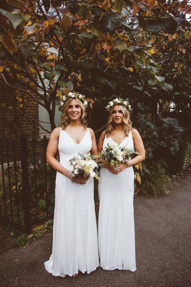 Bridesmaids in White Dresses & Flower Crowns | Autumn City Wedding at Clissold House,  West Reservoir Centre | A Thing Like That Photography