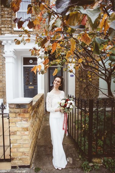 Bride in Laure de Sagazan Gown | Autumn City Wedding at Clissold House,  West Reservoir Centre | A Thing Like That Photography
