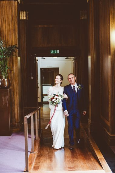 Wedding Ceremony | Bridal Entrance in Laure de Sagazan Gown | Autumn City Wedding at Clissold House,  West Reservoir Centre | A Thing Like That Photography
