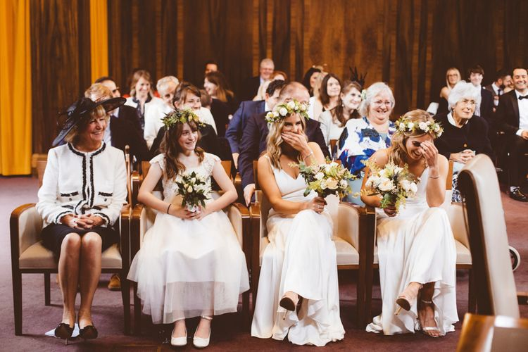 Wedding Ceremony | Bridesmaids in White Dresses | Autumn City Wedding at Clissold House,  West Reservoir Centre | A Thing Like That Photography