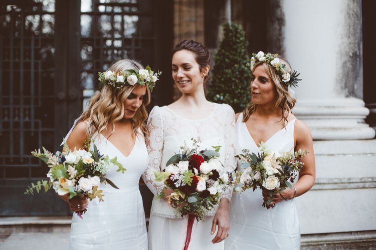 Bridal Party | Bridesmaid in White Dresses | Bride in Laure de Sagazan Gown | Autumn City Wedding at Clissold House,  West Reservoir Centre | A Thing Like That Photography