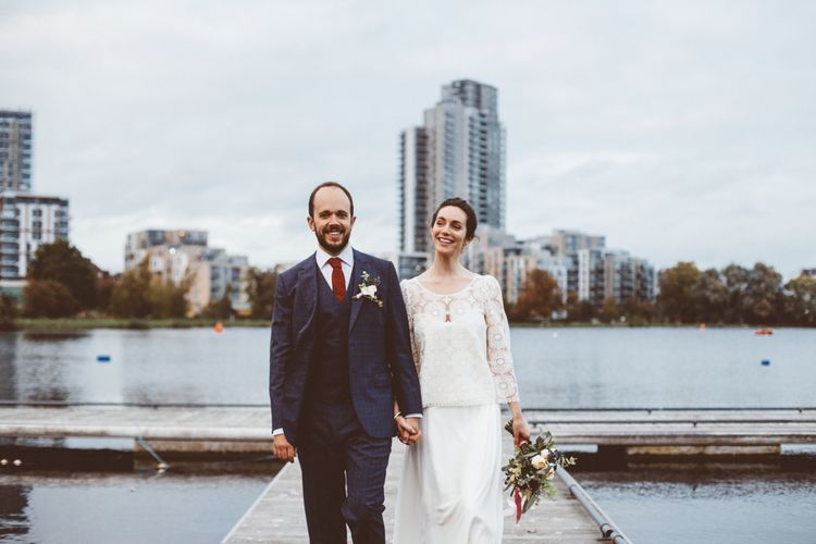 Bride in Laure de Sagazan Gown | Groom in Reiss Suit | Autumn City Wedding at Clissold House,  West Reservoir Centre | A Thing Like That Photography