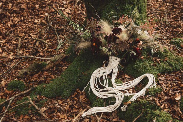 Autumnal Wedding Bouquet with Macrame Decor