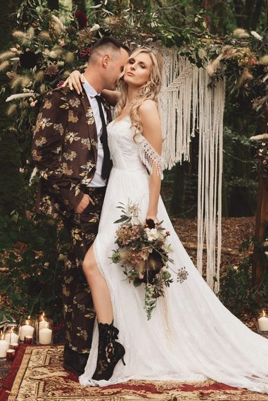 Boho Bride with Black Lace Wedding Boots