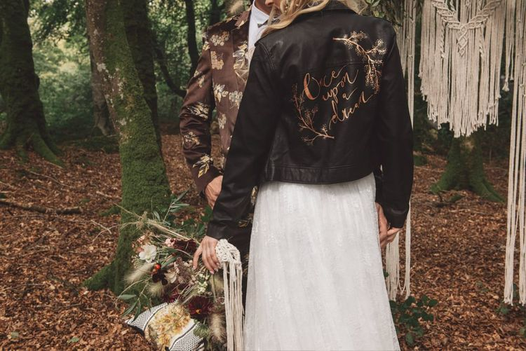 Customised Once upon a Time Leather Jacket Bridal Accessory