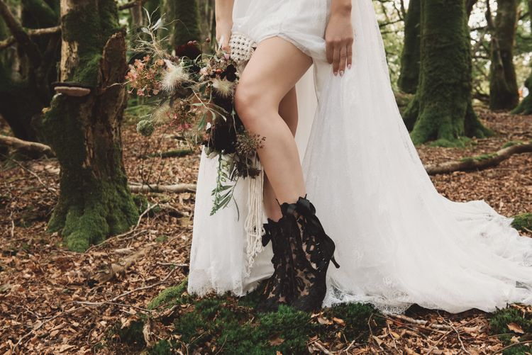Black Lace Ankle Wedding Boots