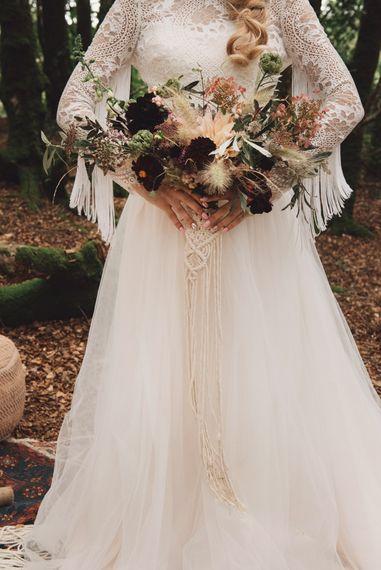 Autumnal Wedding Bouquet with Macrame Hand Tie