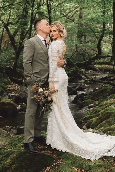 Bride in Lace Wedding Dress with Tie Back Detail