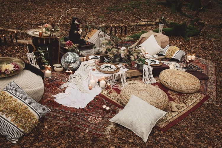 Grazing Table on Moroccan Rugs, Wooden Pallets  and Wicker Poufes