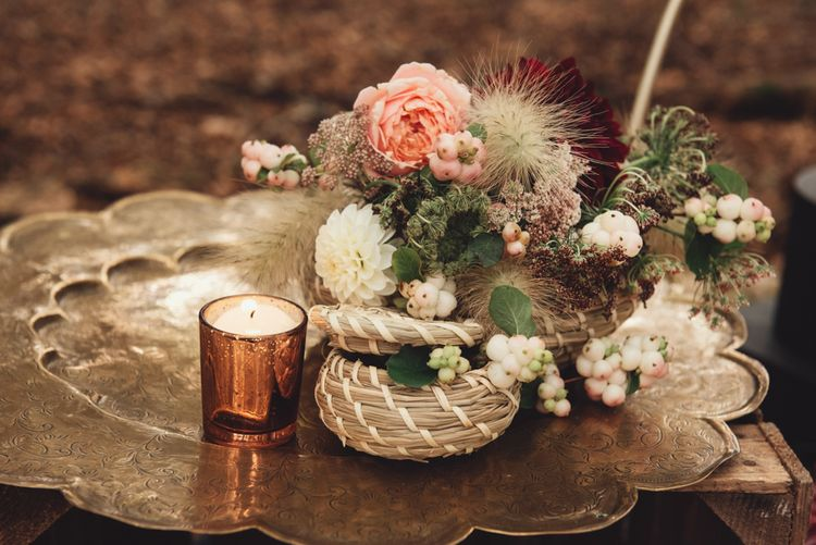 Gold Platter and Wicker Basket Filled with Wedding Flowers