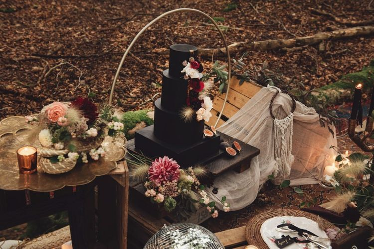 Black Square and Round Wedding Cake with Hoop Cake Stand