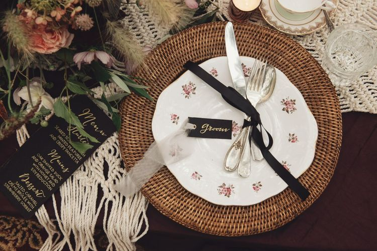 Floral Table Ware on Wicker Place Mat