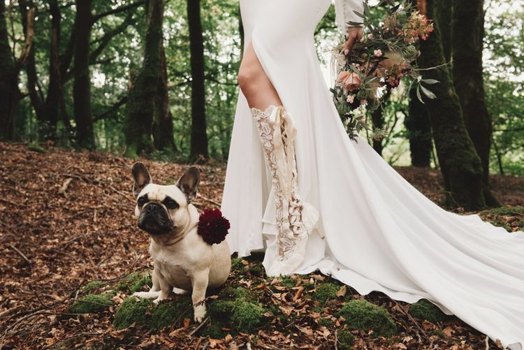 Lace Knee High Wedding Boots and Pet Pugs