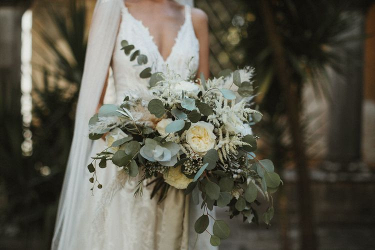 White, Cream And Green Wedding Bouquet with Pampas Grass / Image By James Frost Photography