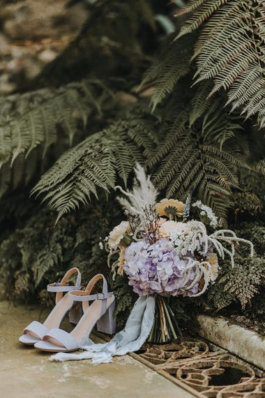 Bridal Accessories | Hydrangea and Pampas Grass Bouquet & Blue Block Heel Shoes | Lavender, Peach & Black Geek Chic Wedding at Swiss Garden Fernery & Grotto, Shuttleworth | Planning & Styling by Rose & Dandy | Lola Rose Photography