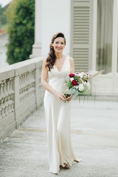 Beautiful Bride in Silk Jenny Packham Wedding Dress | Glamorous, Roaring Twenties, Great Gatsby Inspired Wedding at Villa Borromeo in Italy | Matrimoni all'Italiana Photography
