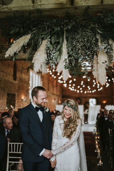 Pampas Grass Floral Ceiling Installation // Image by Darina Stoda