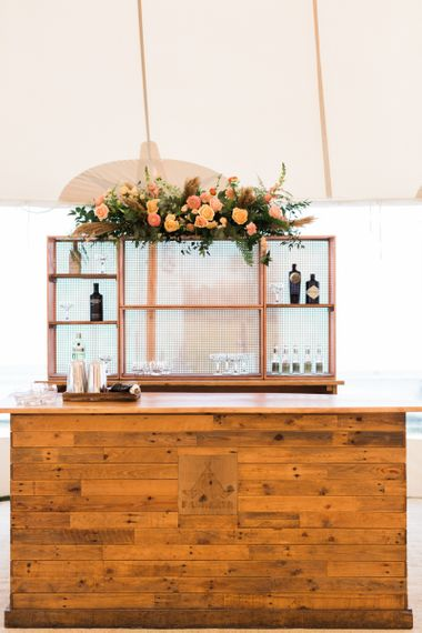 Wooden Bar within a PapaKåta Sperry Tent Wedding