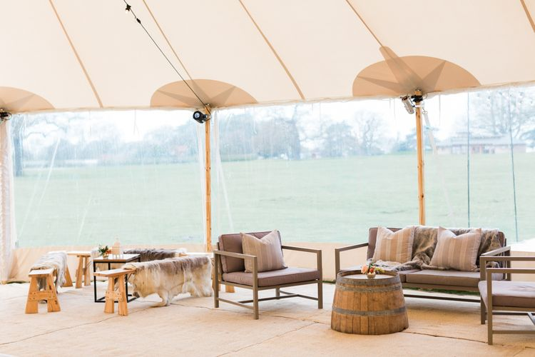 Seating in Chill Out Area within a PapaKåta Sperry Tent Wedding