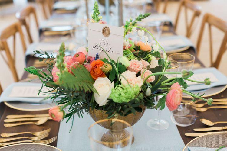 Coral, White & Green Wedding Flower Centrepiece Decor