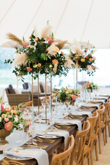 White, Green & Coral Wedding Reception Floral Arrangement