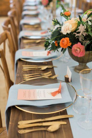 Individual Wedding Menu Cards with Coral Ribbon