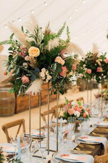 Coral, Foliage & Pampas Grass Wedding Flowers