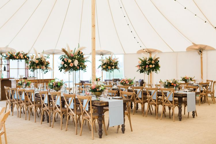PapaKåta Sperry Tent Wedding with Festoon Lights & Long Tables