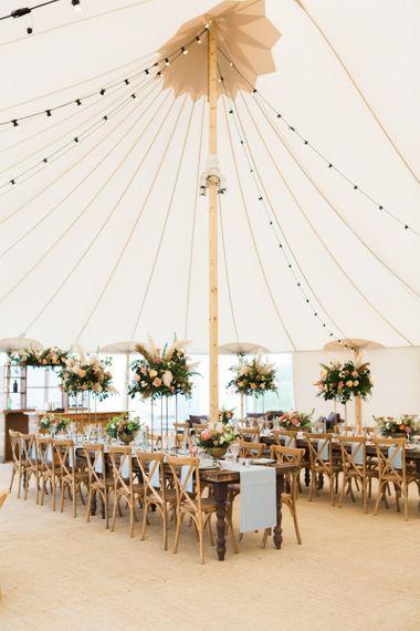 PapaKåta Sperry Tent Wedding Reception with Beautiful Table Decor