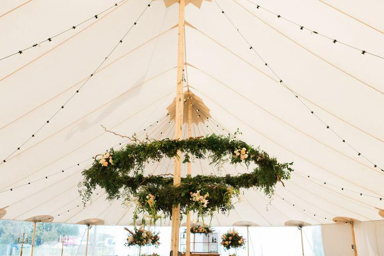 PapaKåta Sperry Tent Wedding with Hanging Floral Hoop Wedding Flowers