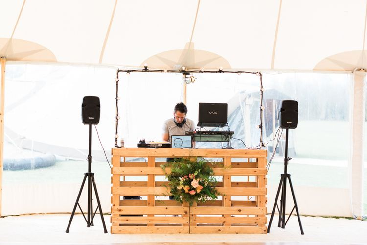 Wooden DJ Booth within PapaKåta Sperry Tent