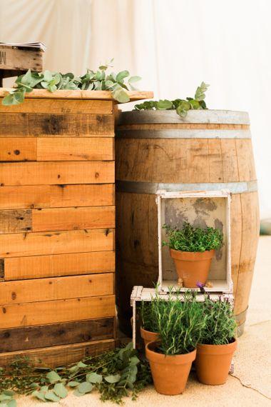 Wooden Crates & Plant Pot Wedding Decor