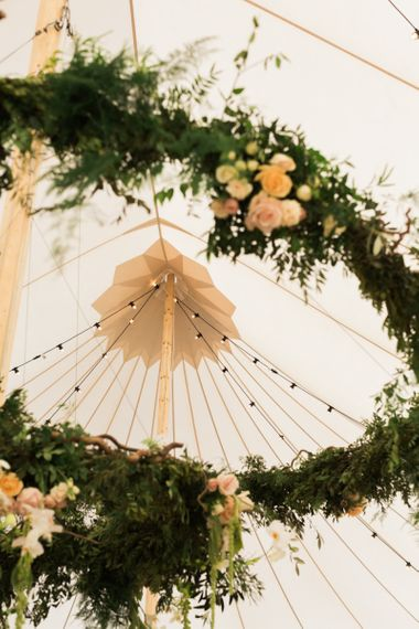 Festoon Lights & Floral Hoop PapaKåta Sperry Tent Wedding Decor