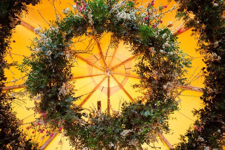 Hanging Floral Hoop Wedding Decor